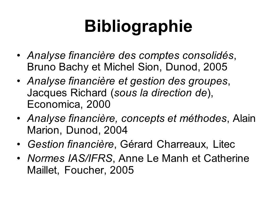 Bibliographie Analyse financière des comptes consolidés, Bruno Bachy et Michel Sion, Dunod, 2005.