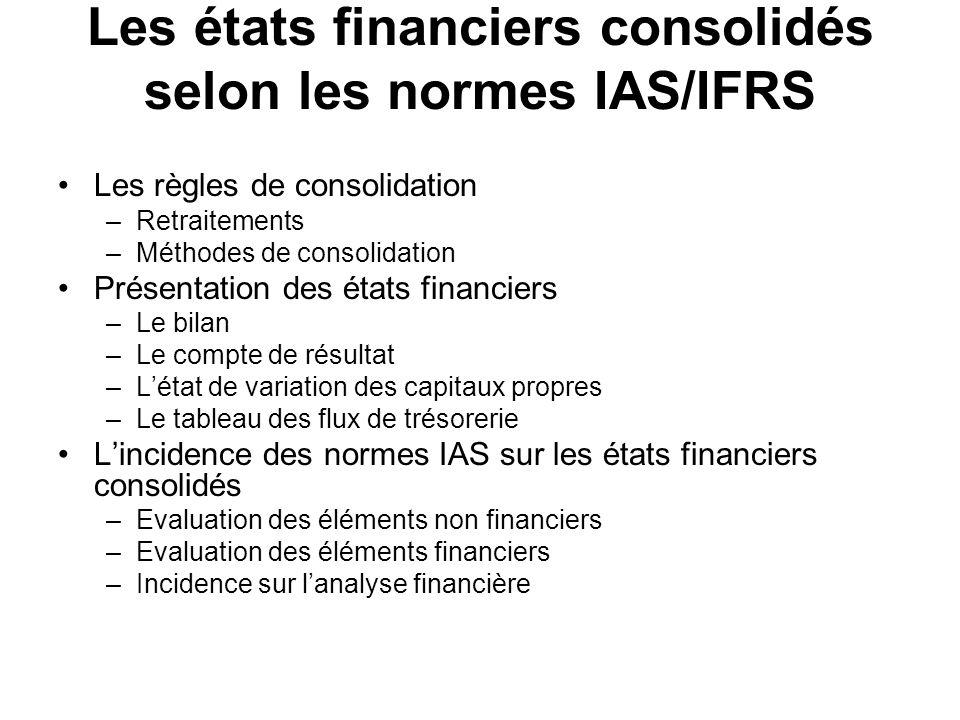 Les états financiers consolidés selon les normes IAS/IFRS