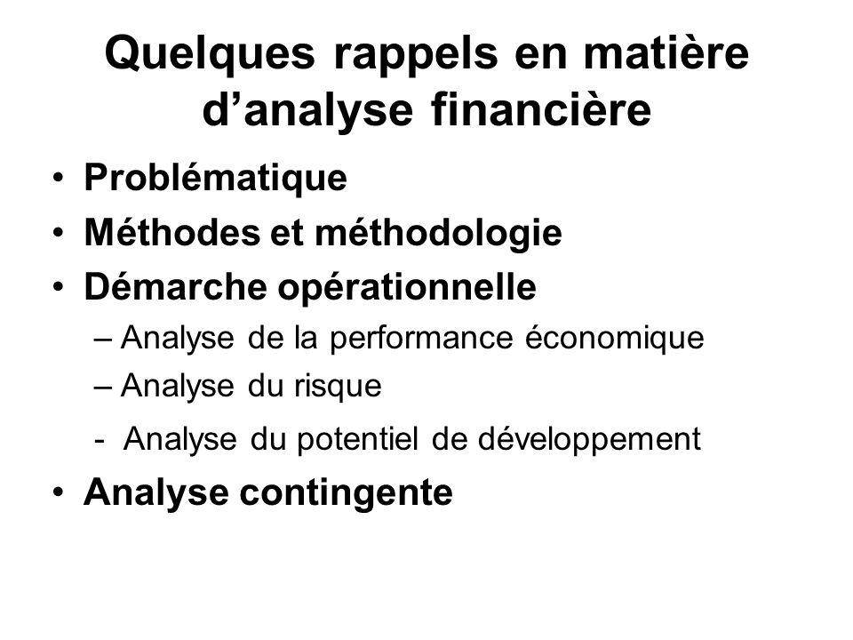 Quelques rappels en matière d'analyse financière