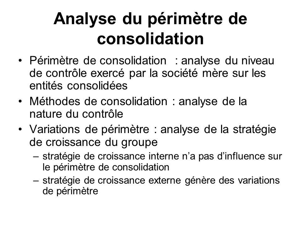 Analyse du périmètre de consolidation