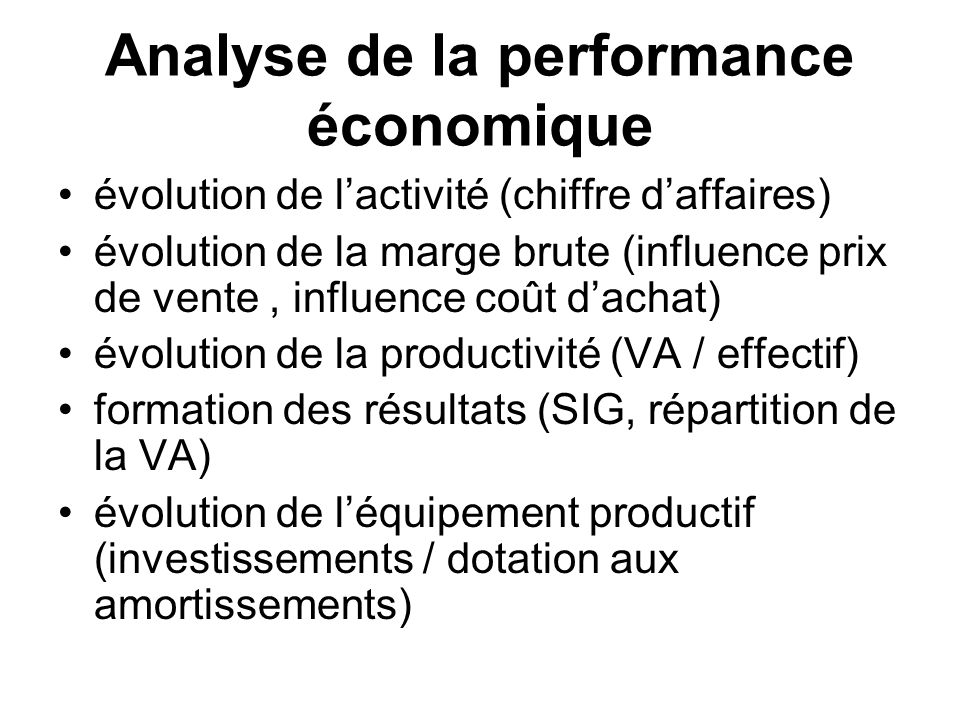 Analyse de la performance économique