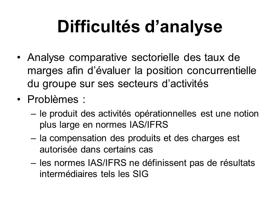 Difficultés d'analyse