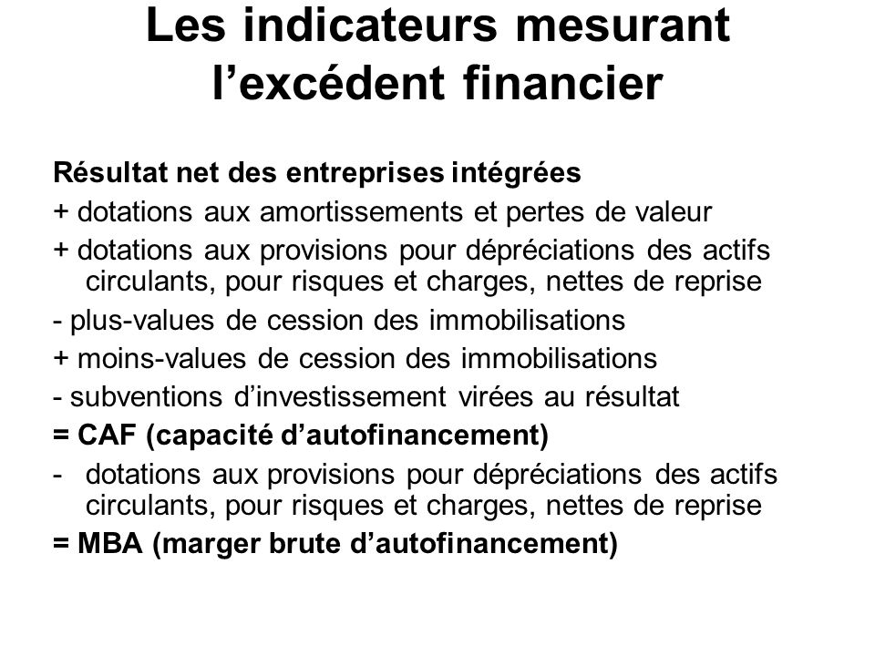 Les indicateurs mesurant l'excédent financier