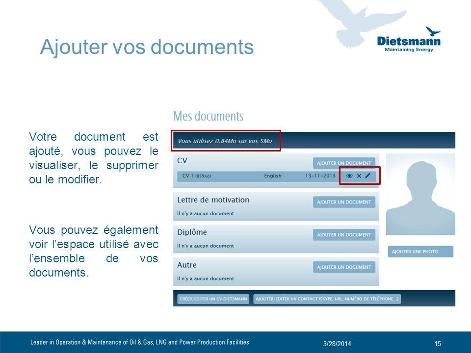 Ajouter vos documents