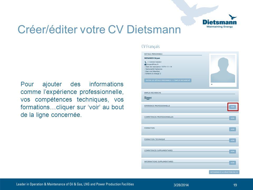 Créer/éditer votre CV Dietsmann