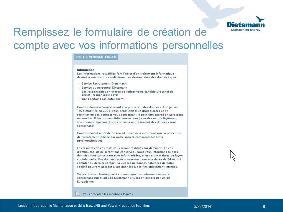Remplissez le formulaire de création de compte avec vos informations personnelles