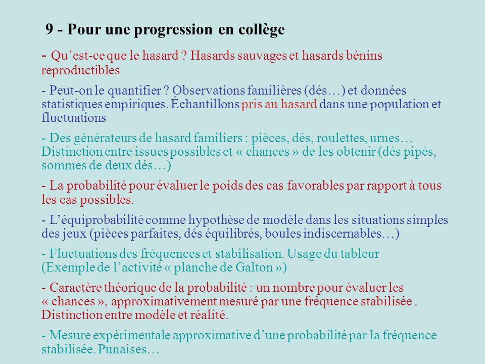 9 - Pour une progression en collège