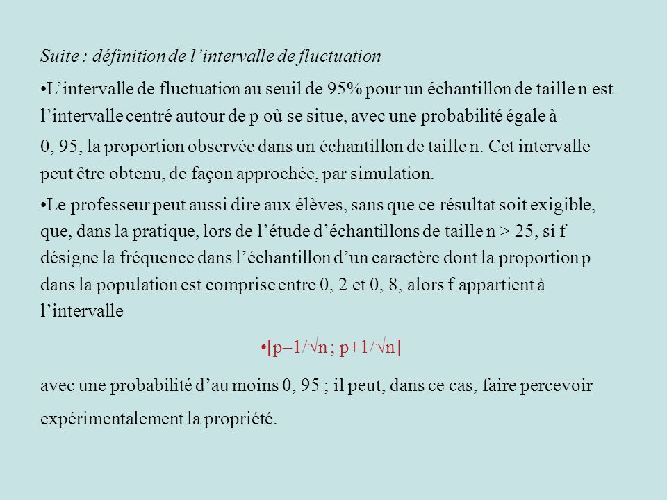 Suite : définition de l'intervalle de fluctuation