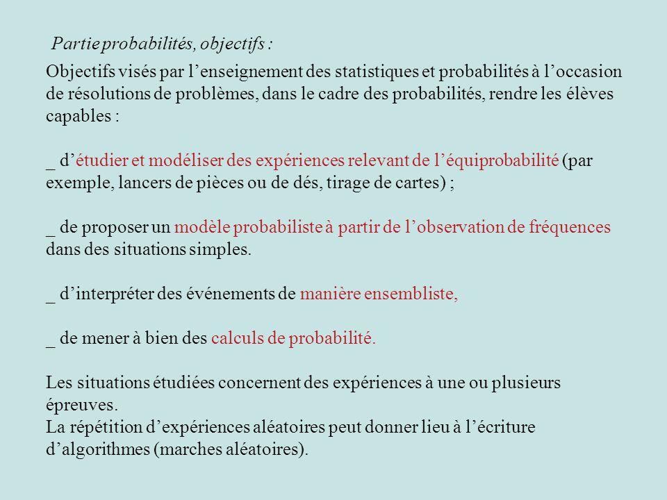Partie probabilités, objectifs :