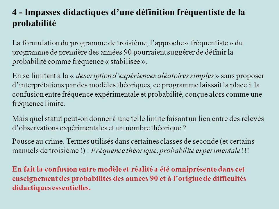 4 - Impasses didactiques d'une définition fréquentiste de la probabilité