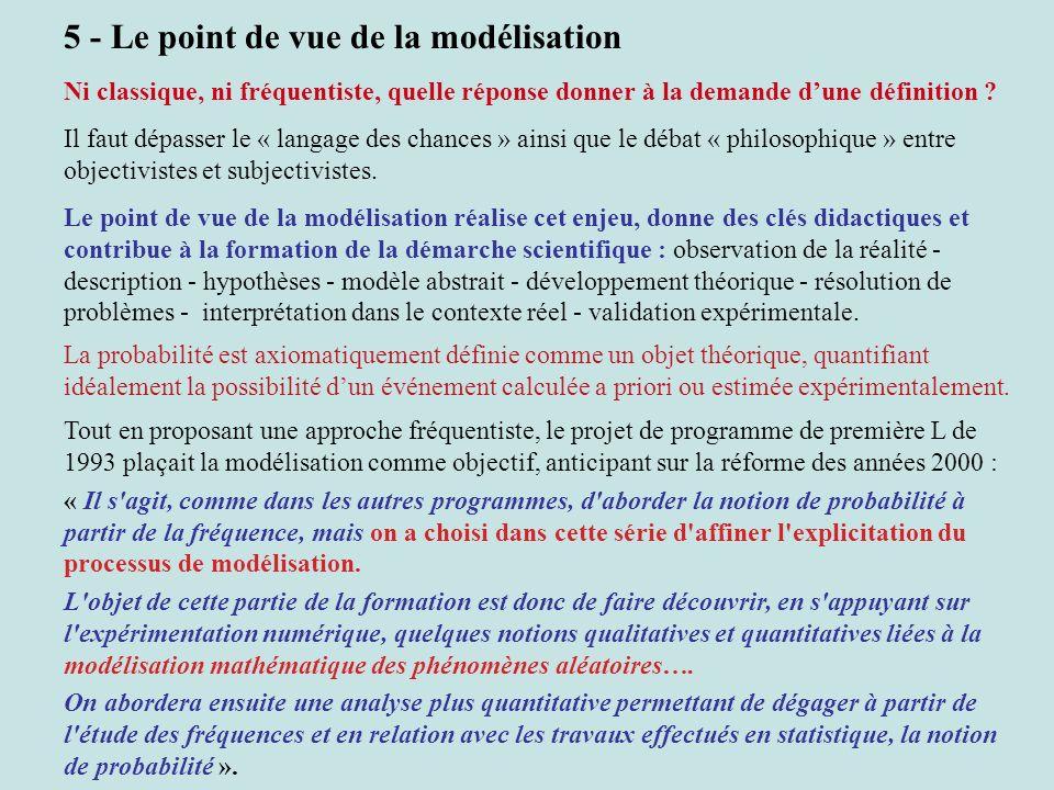 5 - Le point de vue de la modélisation