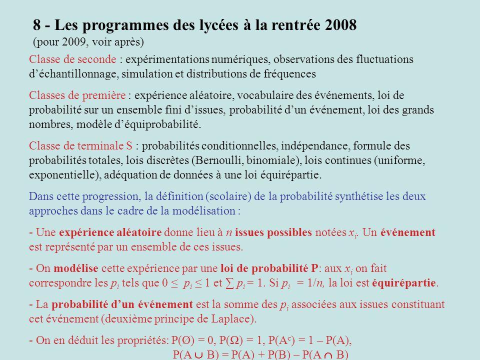 8 - Les programmes des lycées à la rentrée 2008