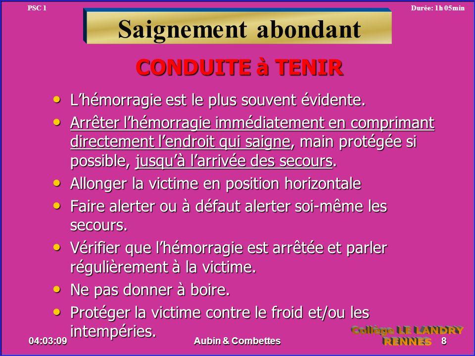 Saignement abondant CONDUITE à TENIR Collège LE LANDRY RENNES