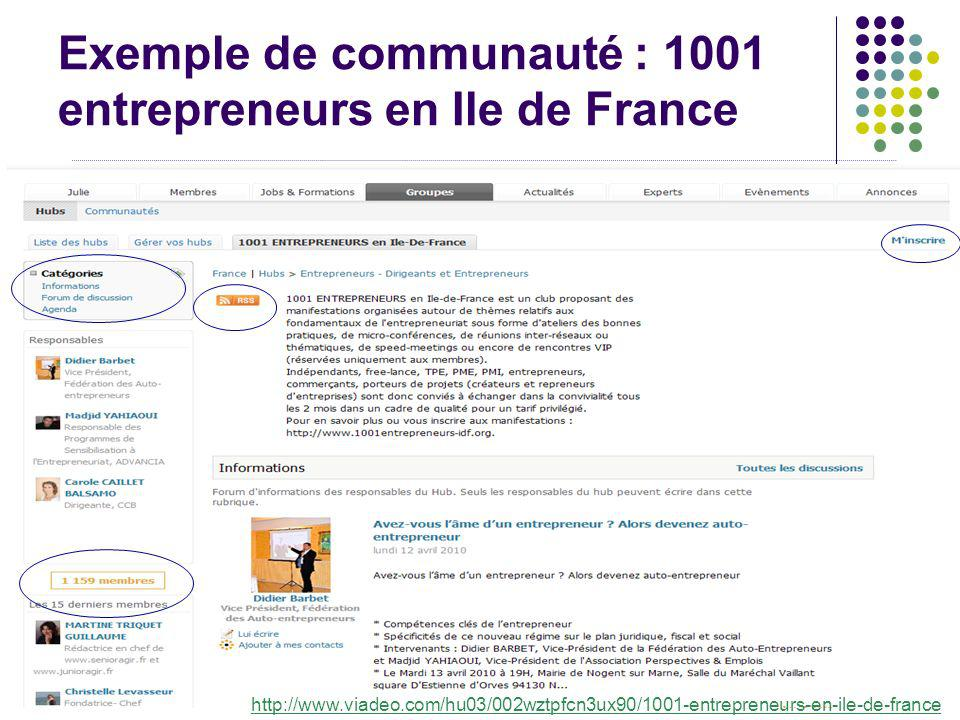 Exemple de communauté : 1001 entrepreneurs en Ile de France