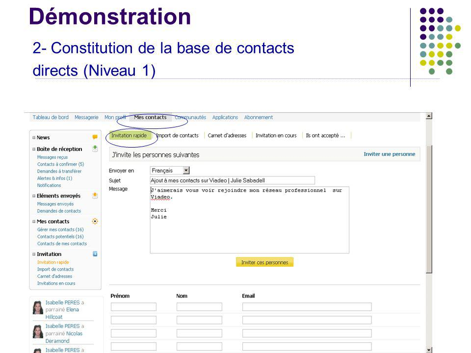 Démonstration 2- Constitution de la base de contacts