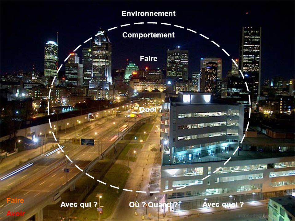 Environnement Comportement Faire Quoi Faire Avoir Avec qui Où Quand Avec quoi