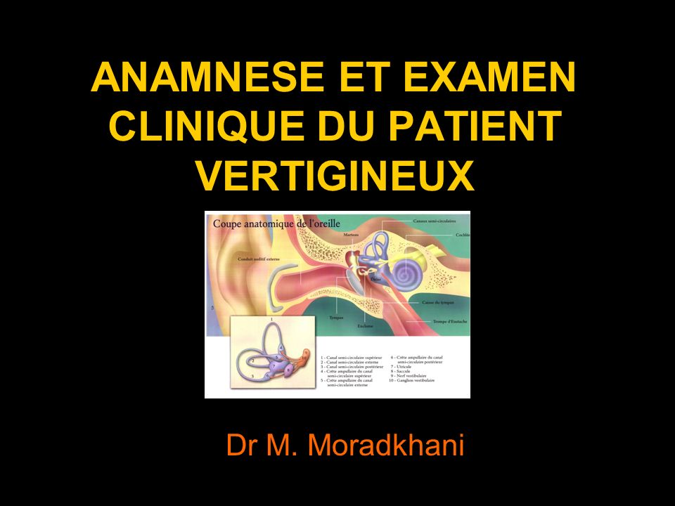 ANAMNESE ET EXAMEN CLINIQUE DU PATIENT VERTIGINEUX