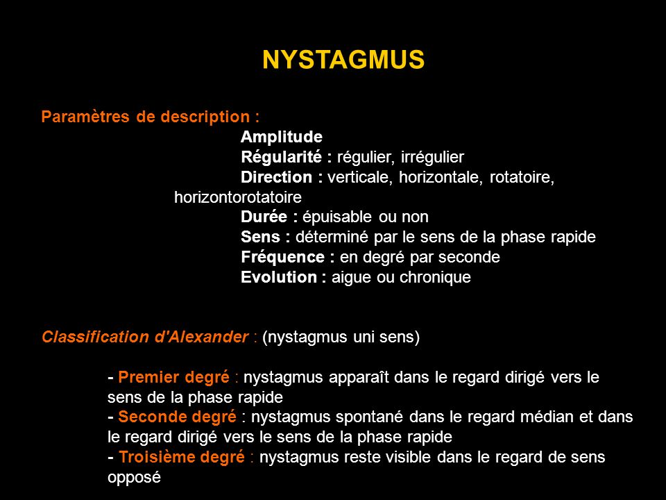 NYSTAGMUS Paramètres de description : Amplitude