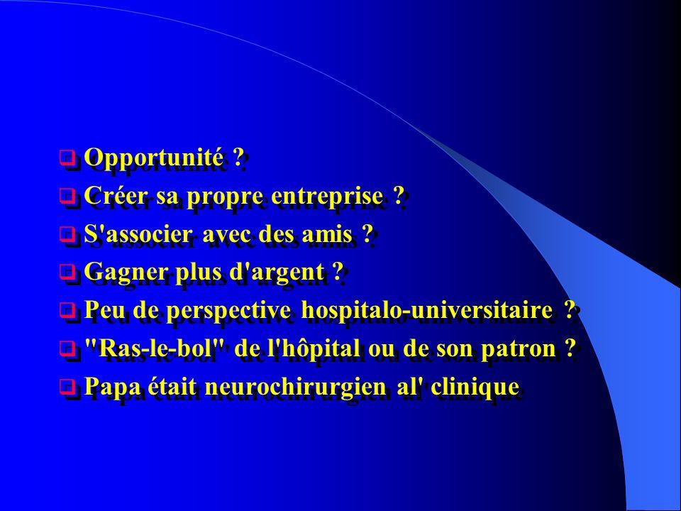 Opportunité Créer sa propre entreprise S associer avec des amis Gagner plus d argent Peu de perspective hospitalo-universitaire