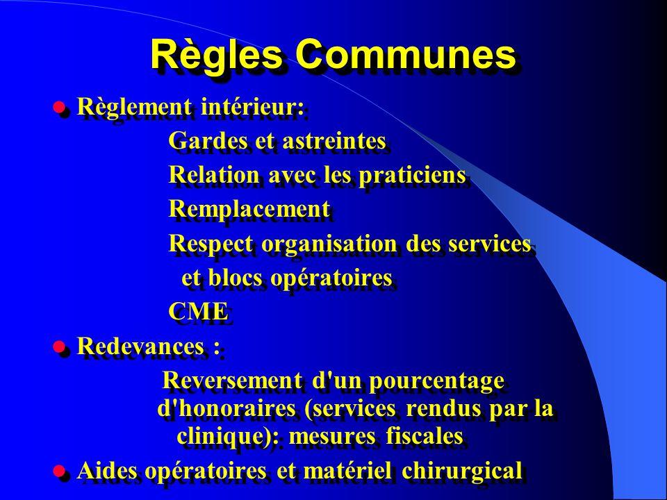 Règles Communes Règlement intérieur: Gardes et astreintes