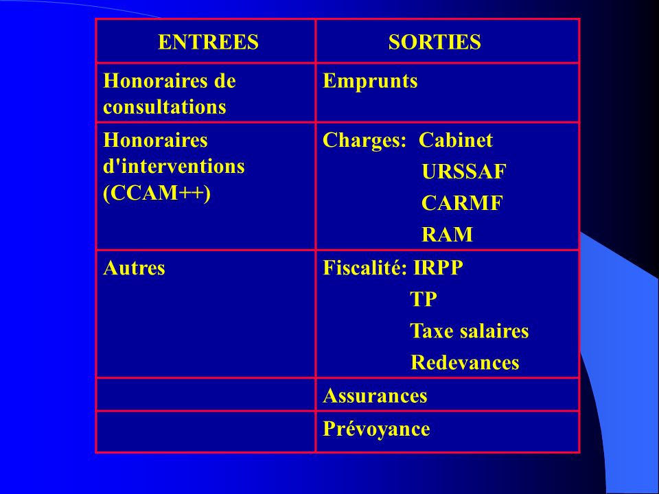 ENTREES SORTIES. Honoraires de consultations. Emprunts. Honoraires d interventions (CCAM++) Charges: Cabinet.