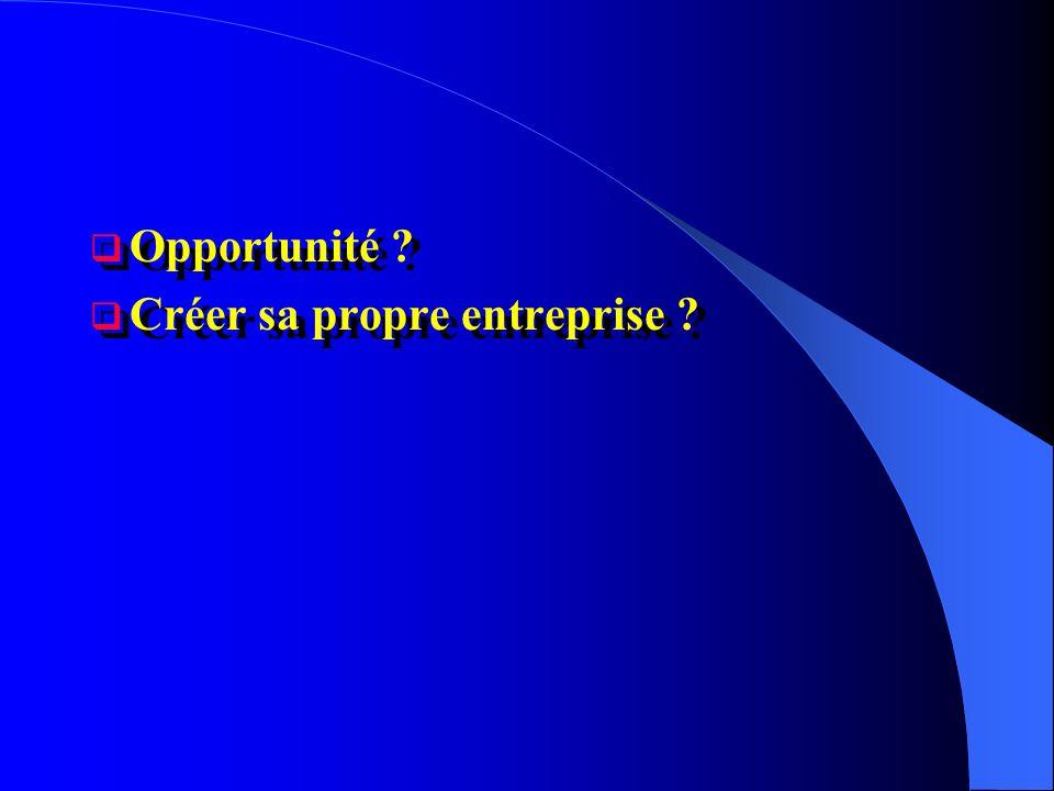 Opportunité Créer sa propre entreprise