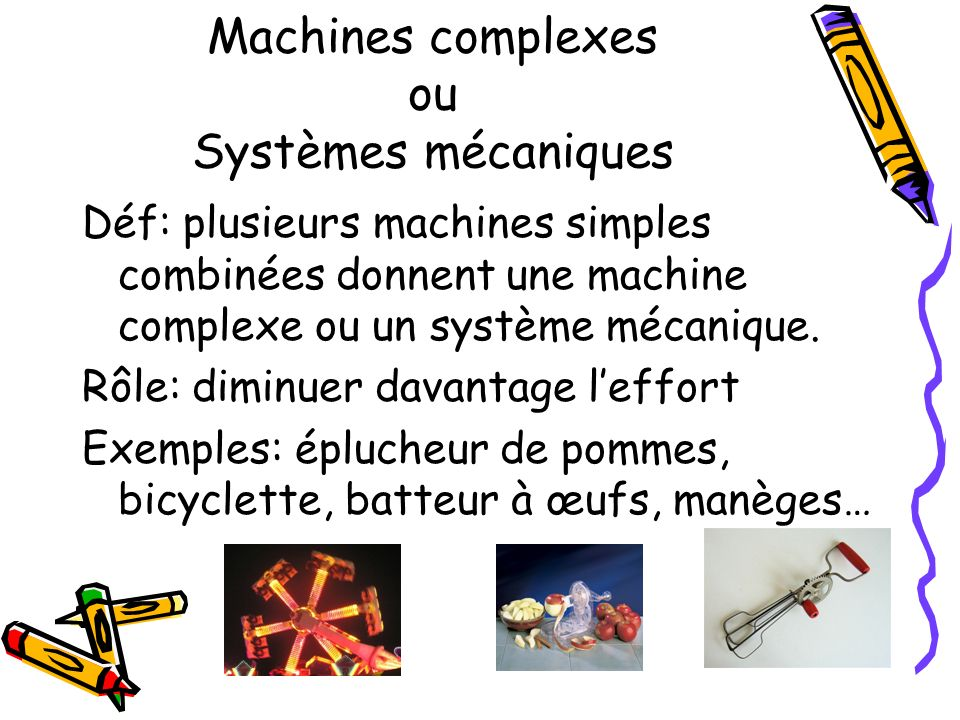 Machines complexes ou Systèmes mécaniques