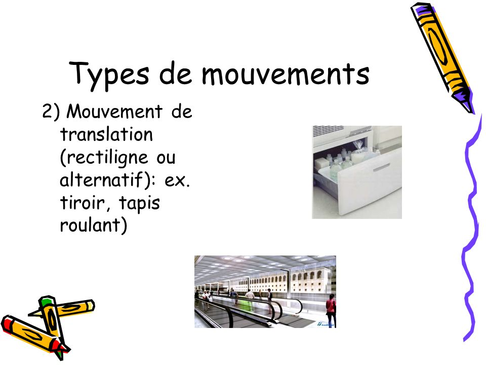 Types de mouvements 2) Mouvement de translation (rectiligne ou alternatif): ex.