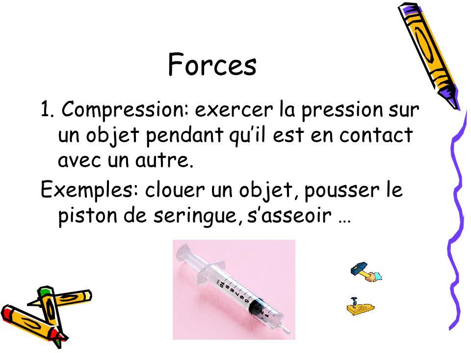 Forces1. Compression: exercer la pression sur un objet pendant qu'il est en contact avec un autre.