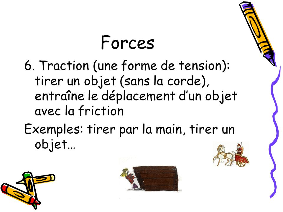 Forces 6. Traction (une forme de tension): tirer un objet (sans la corde), entraîne le déplacement d'un objet avec la friction.