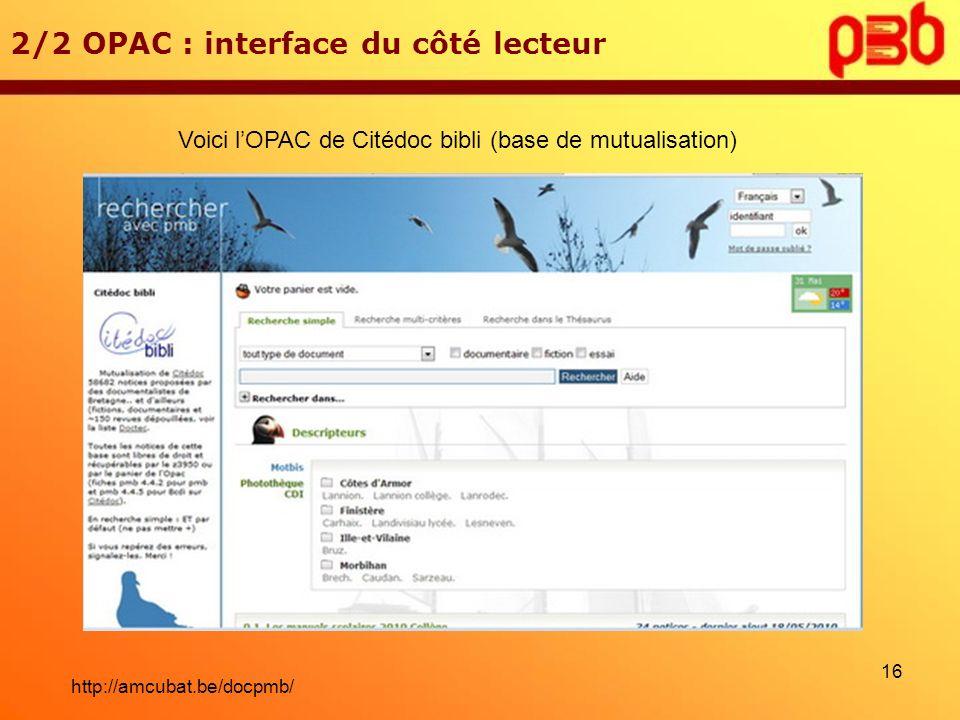 Voici l'OPAC de Citédoc bibli (base de mutualisation)