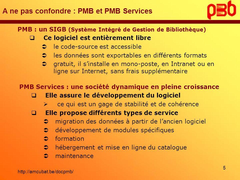A ne pas confondre : PMB et PMB Services