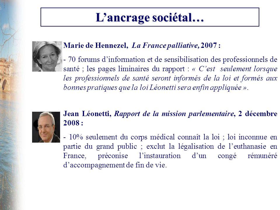 L'ancrage sociétal… Marie de Hennezel, La France palliative, 2007 :
