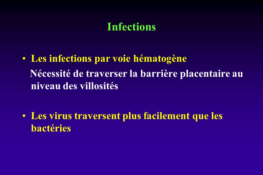 Infections Les infections par voie hématogène