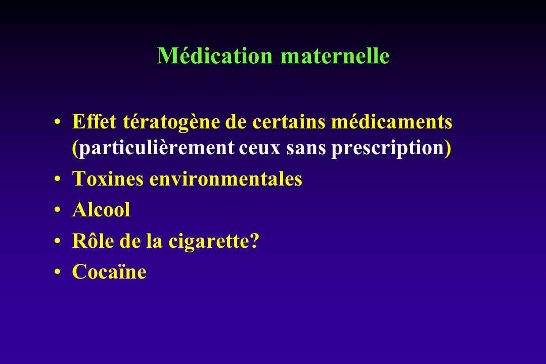 Médication maternelle