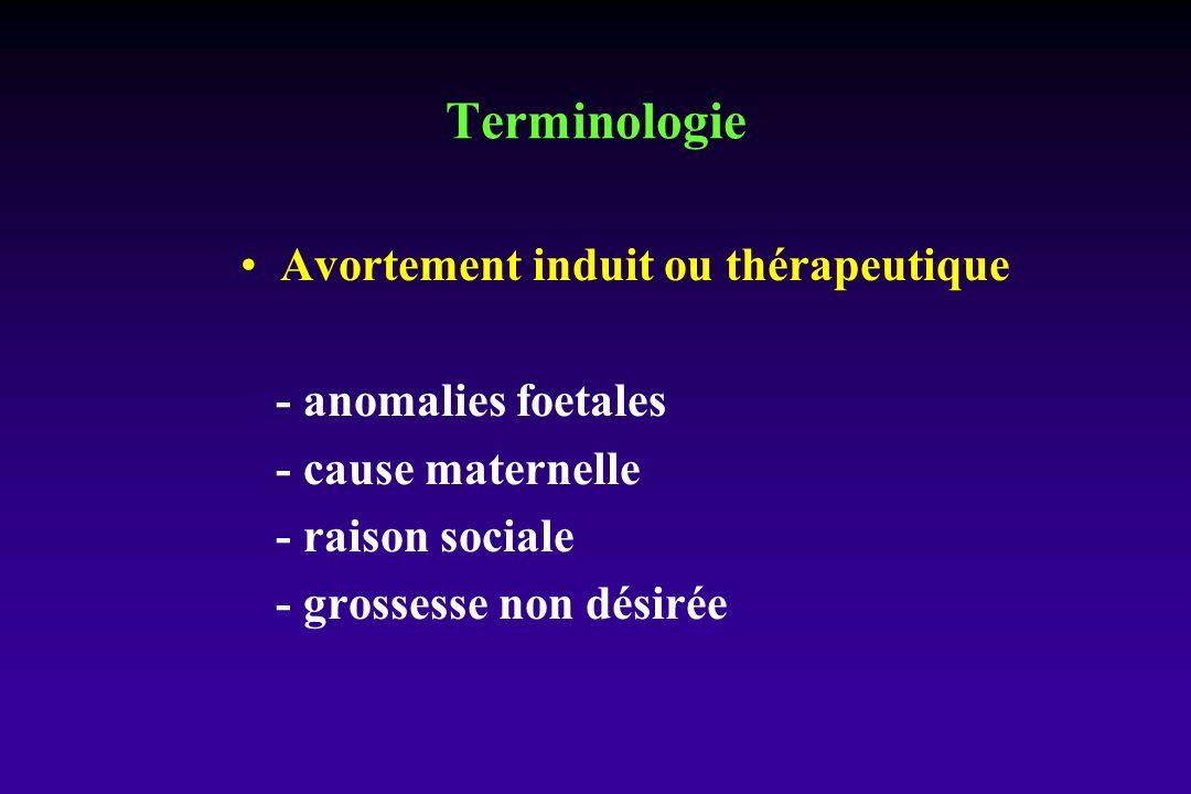 Terminologie Avortement induit ou thérapeutique - anomalies foetales