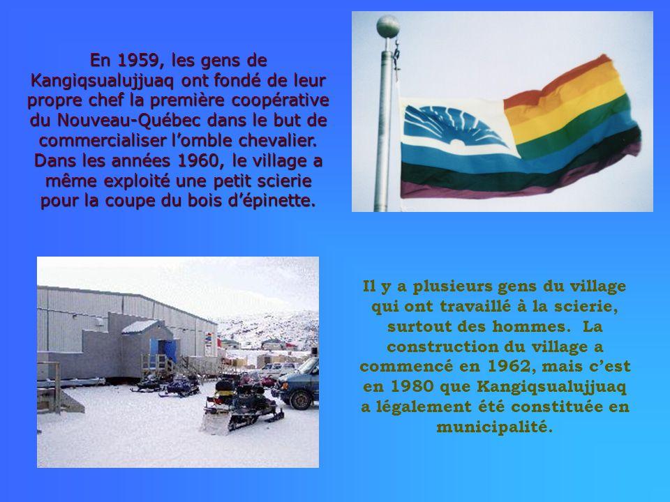 En 1959, les gens de Kangiqsualujjuaq ont fondé de leur propre chef la première coopérative du Nouveau-Québec dans le but de commercialiser l'omble chevalier. Dans les années 1960, le village a même exploité une petit scierie pour la coupe du bois d'épinette.