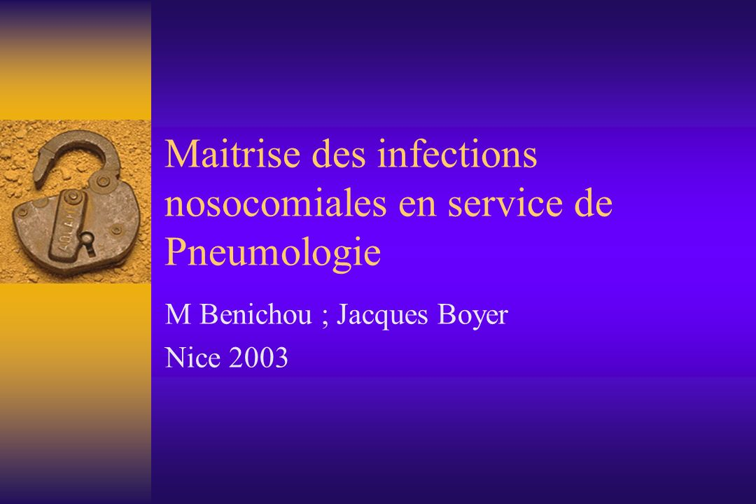 Maitrise des infections nosocomiales en service de Pneumologie
