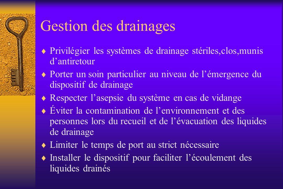 Gestion des drainages Privilégier les systèmes de drainage stériles,clos,munis d'antiretour.