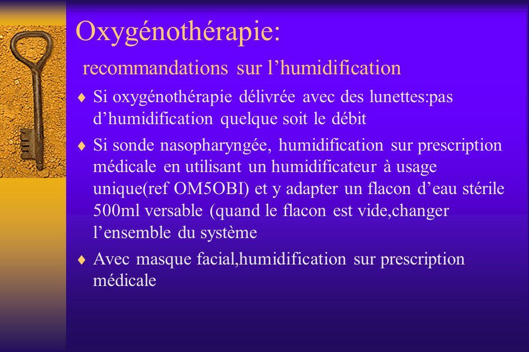 Oxygénothérapie: recommandations sur l'humidification