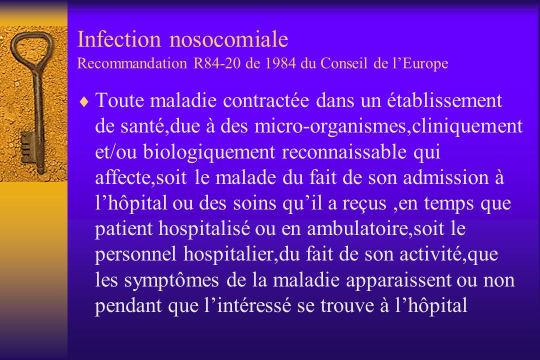 Infection nosocomiale Recommandation R84-20 de 1984 du Conseil de l'Europe