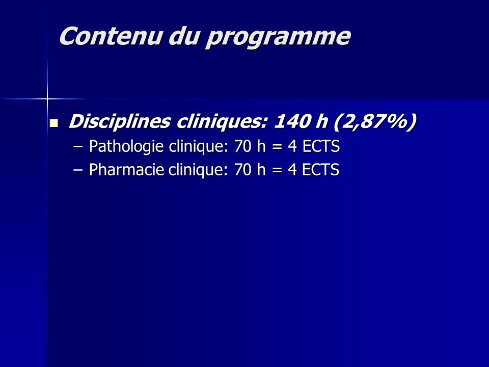 Contenu du programme Disciplines cliniques: 140 h (2,87%)