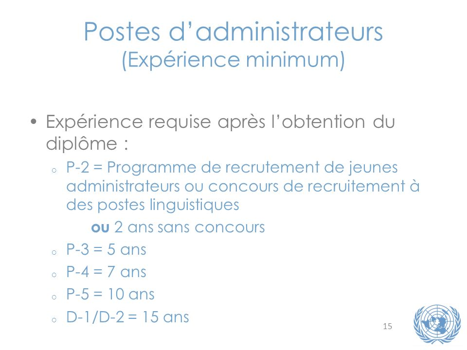 Postes d'administrateurs (Expérience minimum)