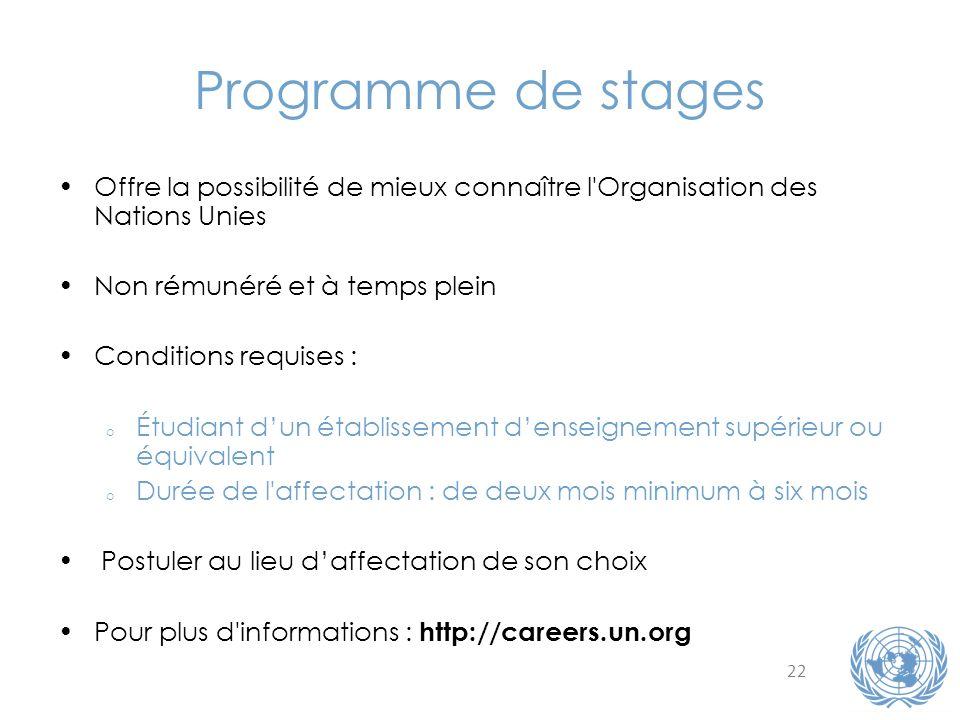 Programme de stages Offre la possibilité de mieux connaître l Organisation des Nations Unies. Non rémunéré et à temps plein.