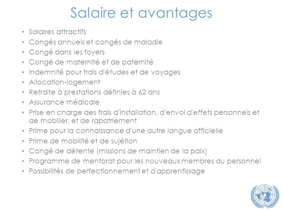 Salaire et avantages Salaires attractifs