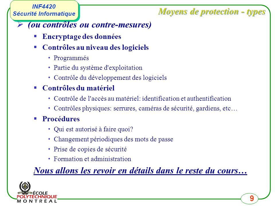 Moyens de protection - types