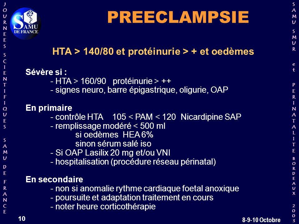HTA > 140/80 et protéinurie > + et oedèmes