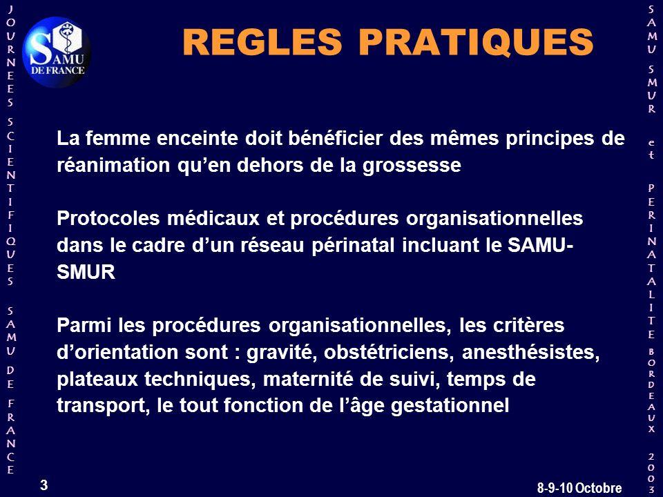 REGLES PRATIQUES La femme enceinte doit bénéficier des mêmes principes de réanimation qu'en dehors de la grossesse.