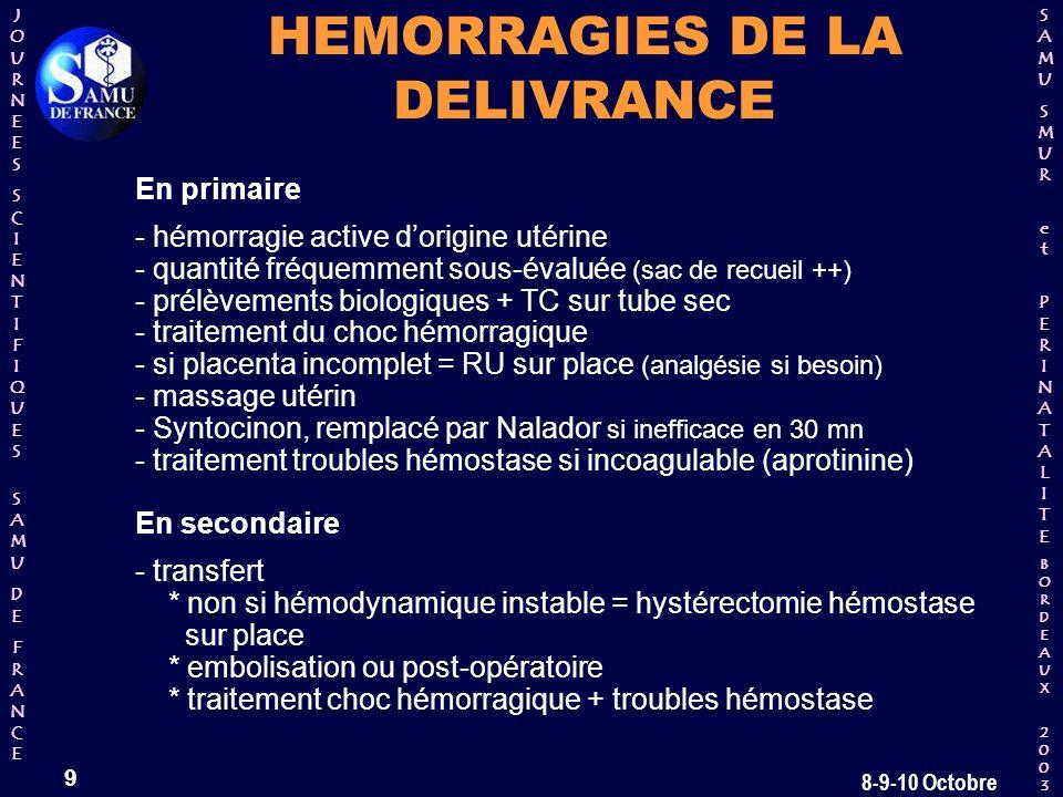 HEMORRAGIES DE LA DELIVRANCE