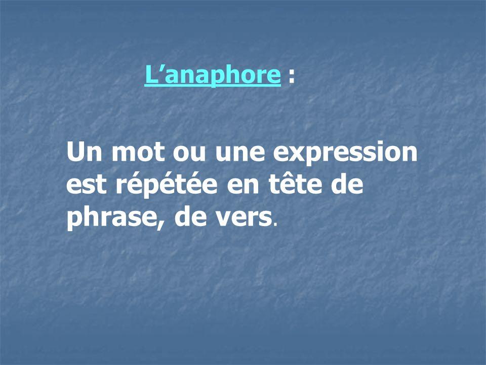 Un mot ou une expression est répétée en tête de phrase, de vers.